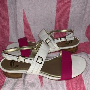 CC Hot pink and white sandals size 8